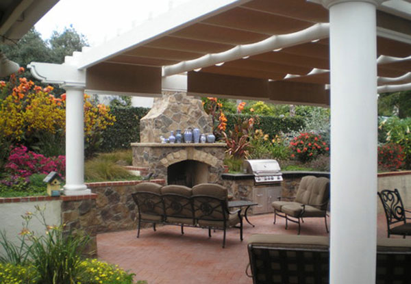 outdoor kitchen pergola corner outdoor kitchen fireplace in vista ca daniels landscape gallery kitchens bbqs landscaping