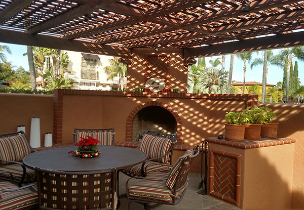 Patio with Clay & Brick Fireplace in Kensington, CA