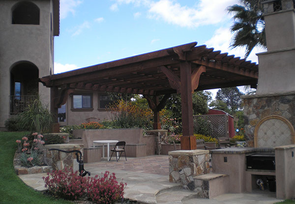 Large wood patio cover in Bonsall, CA