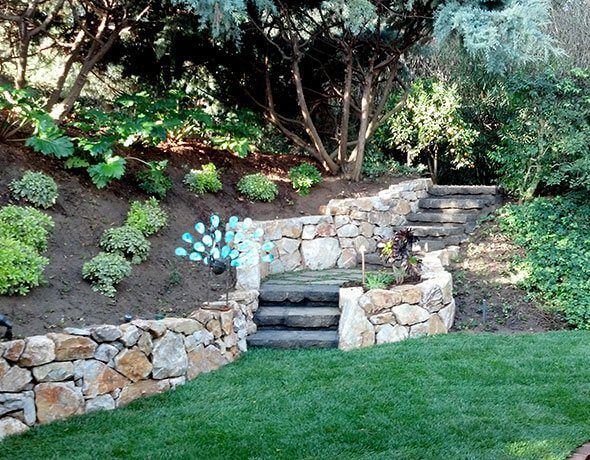 Concrete Steps & Natural Stone Walls